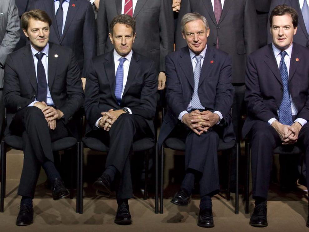 Baroin, Geithner, Noyer y Osborne, en la reunión de París