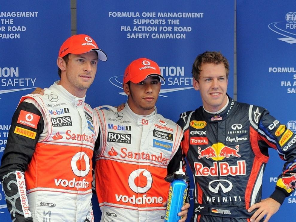 Button, Hamilton y Vettel en Corea