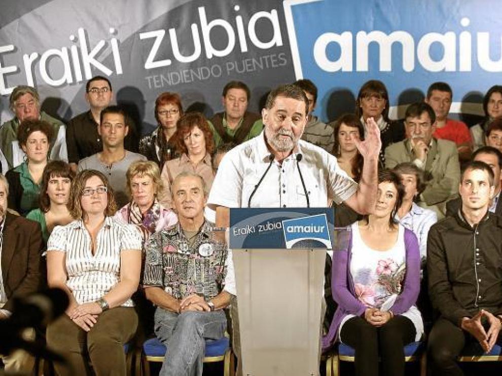 Iñaki Antigüedad en la presentación de las candidaturas de Amaiur, ayer en Bilbao.