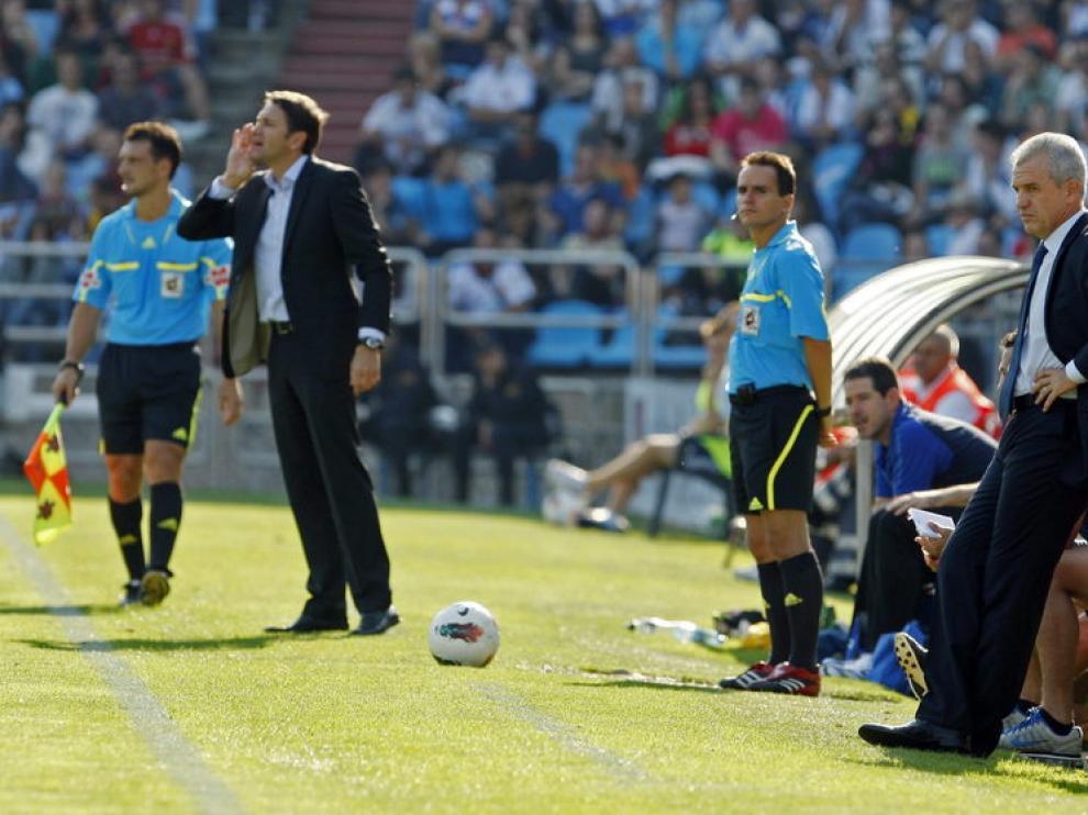 Aguirre durante el partido ante la Real