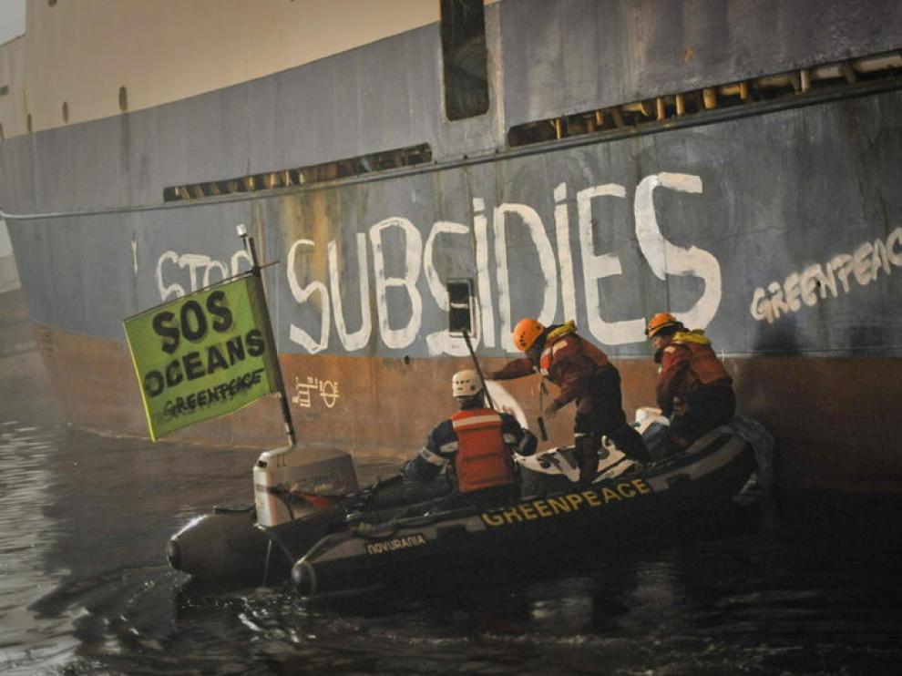 Pintadas en el puerto de Vigo
