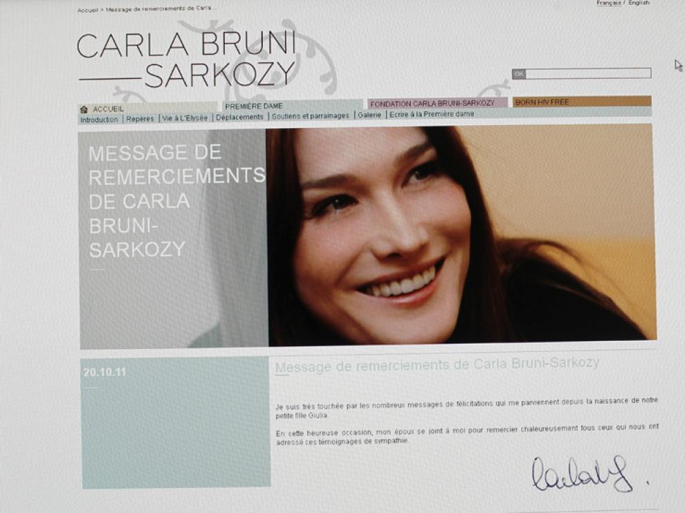 Imagen de la web de Carla Bruni donde ha anunciado el nombre de su hija