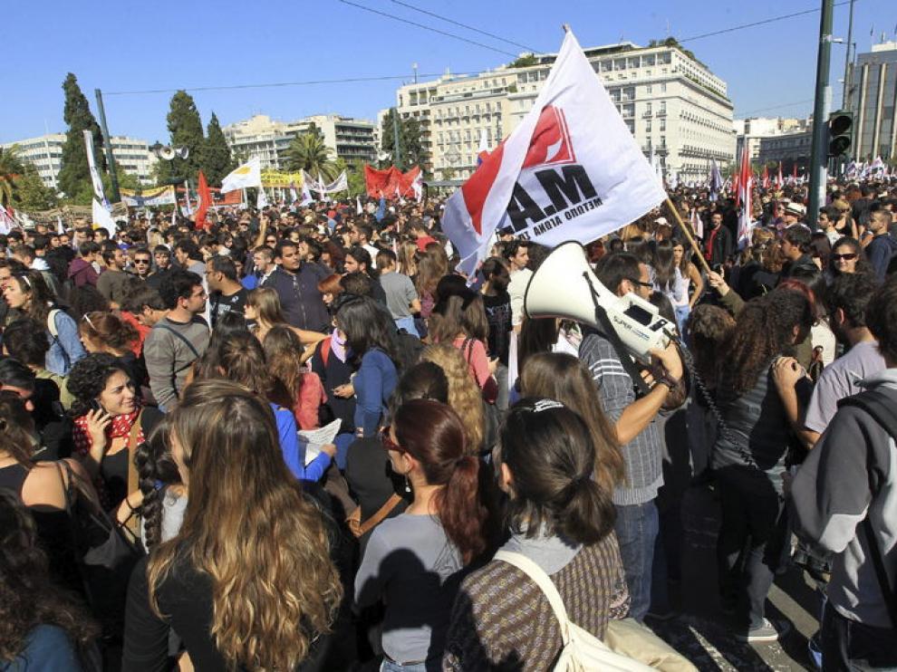 Manifestaciones en Grecia durante la segunda jornada de huelga general