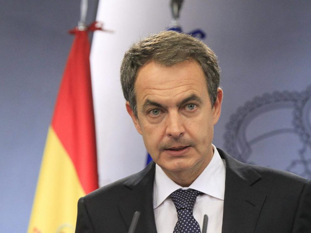 El presidente del Gobierno, José Luis Rodríguez Zapatero, durante su comparecencia