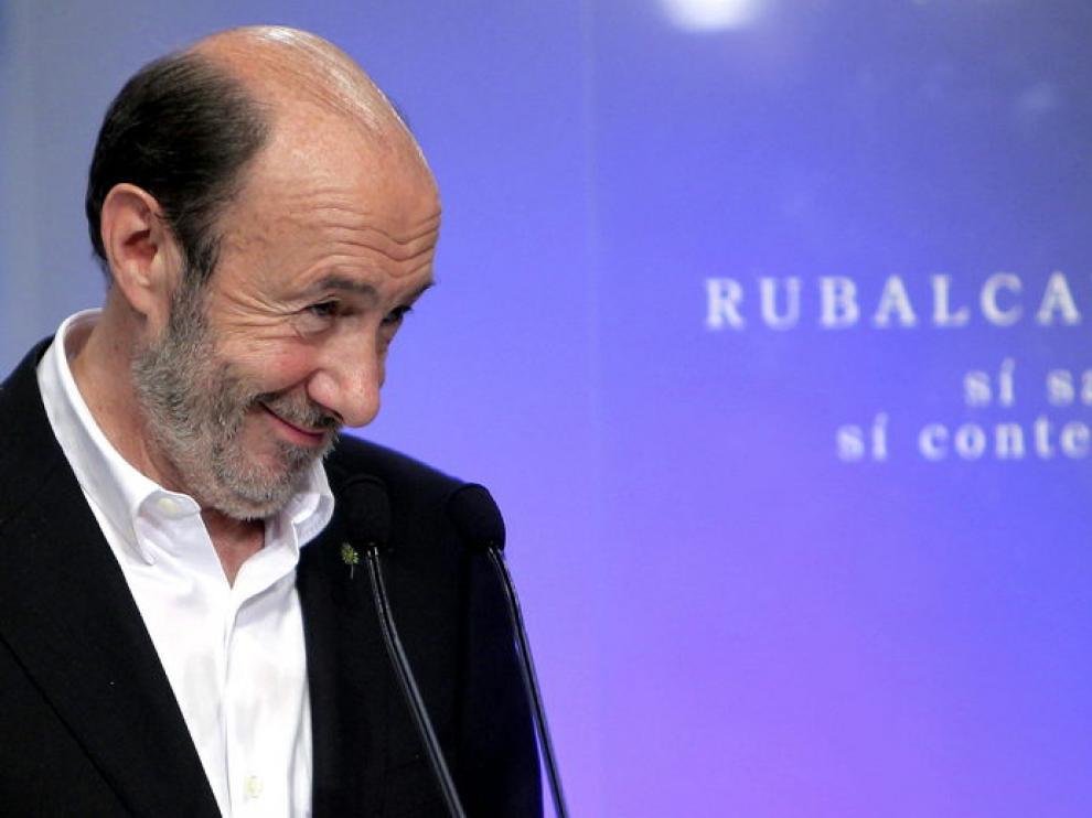 Alfredo Pérez Rubalcaba en un acto en San Sebastián