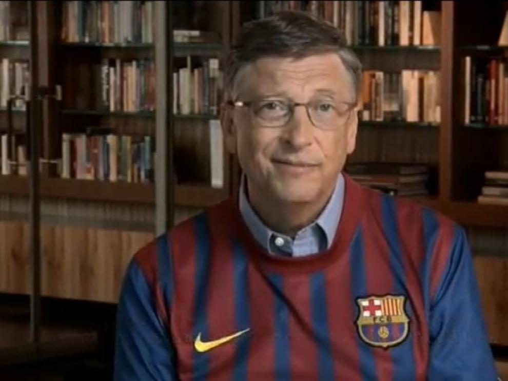 Bill Gates con la camiseta del FC Barcelona