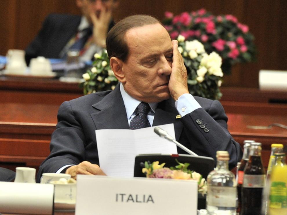 Berlusconi durante la cumbre europea