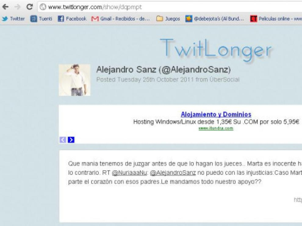 El 'tweet' de Alejandro Sanz sobre Marta del Castillo