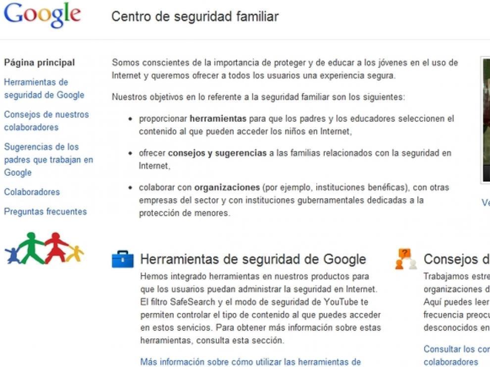 Aspecto que presenta el nuevo servicio de Google con consejos de seguridad en Internet para proteger a niños y jóvenes
