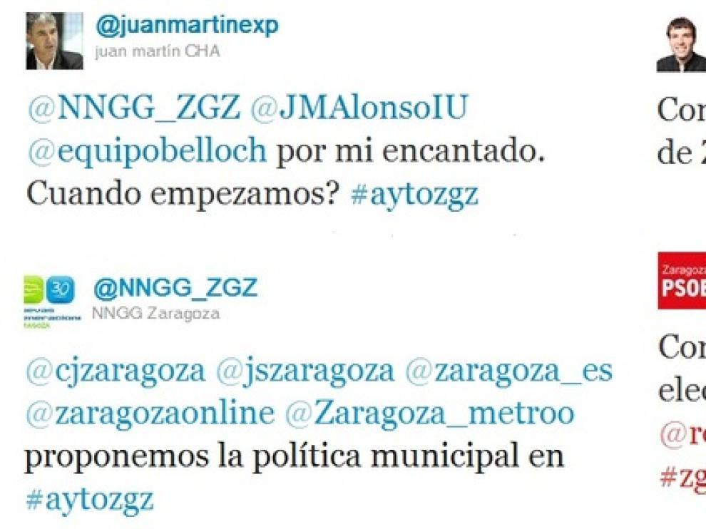 'Tuits' de distintas cuentas políticas de Zaragoza