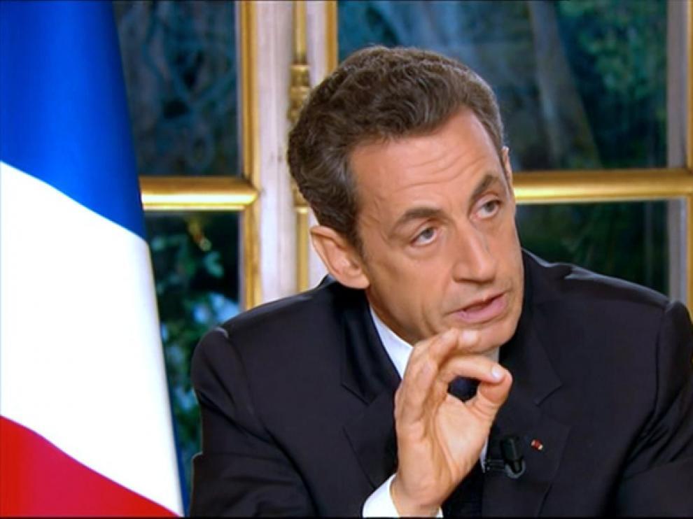 El presidente francés, Nicolas Sarkozy, durante la entrevista