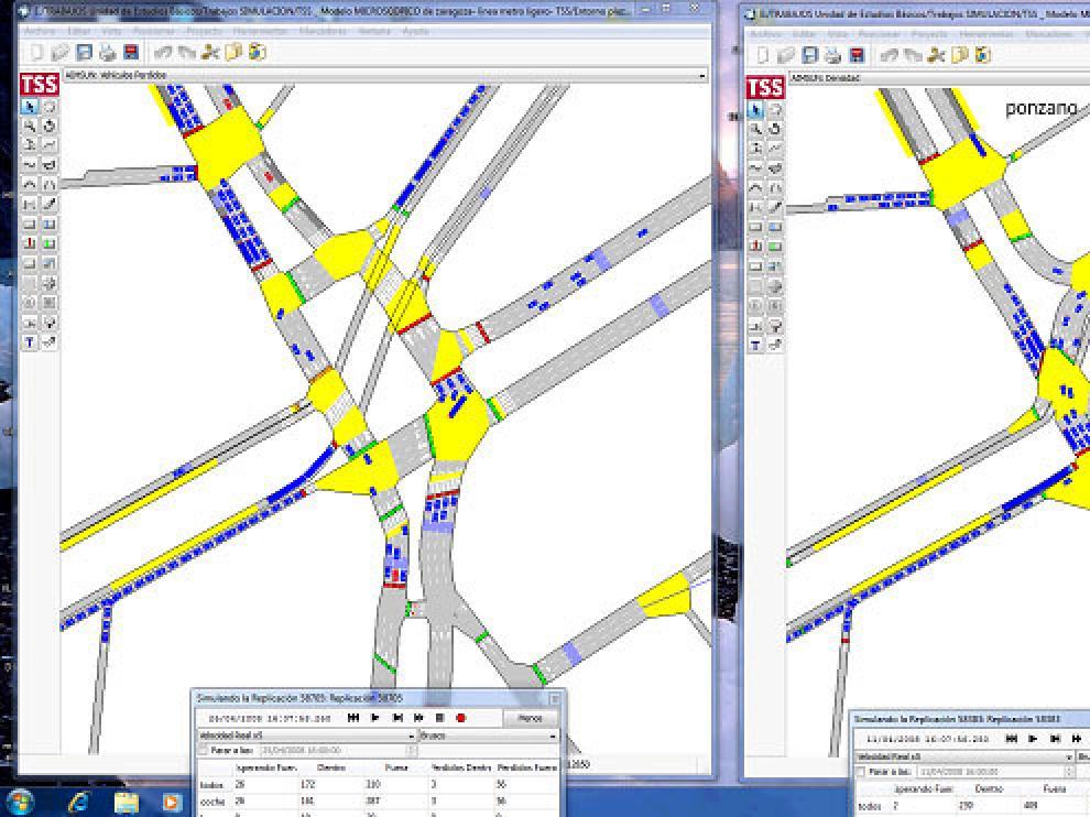 Simulación del tráfico en la plaza de Paraíso con el nuevo y el viejo diseño