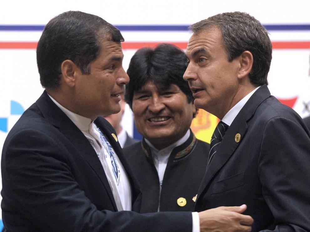 Rafael Correa, Evo Morales y Jose Luis Rodríguez Zapatero