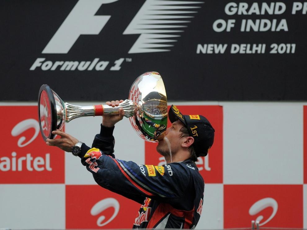 Vettel celebra la victoria en el Gran Premio de la India