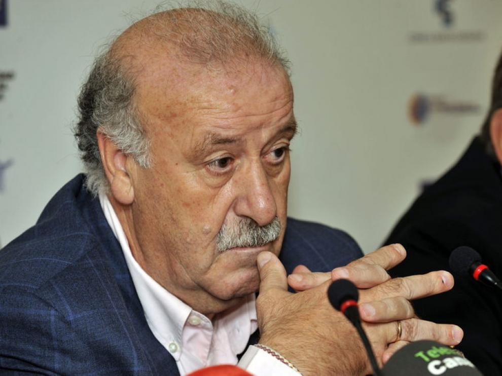 Vicente Del Bosque durante la rueda de prensa en Gran Canaria.