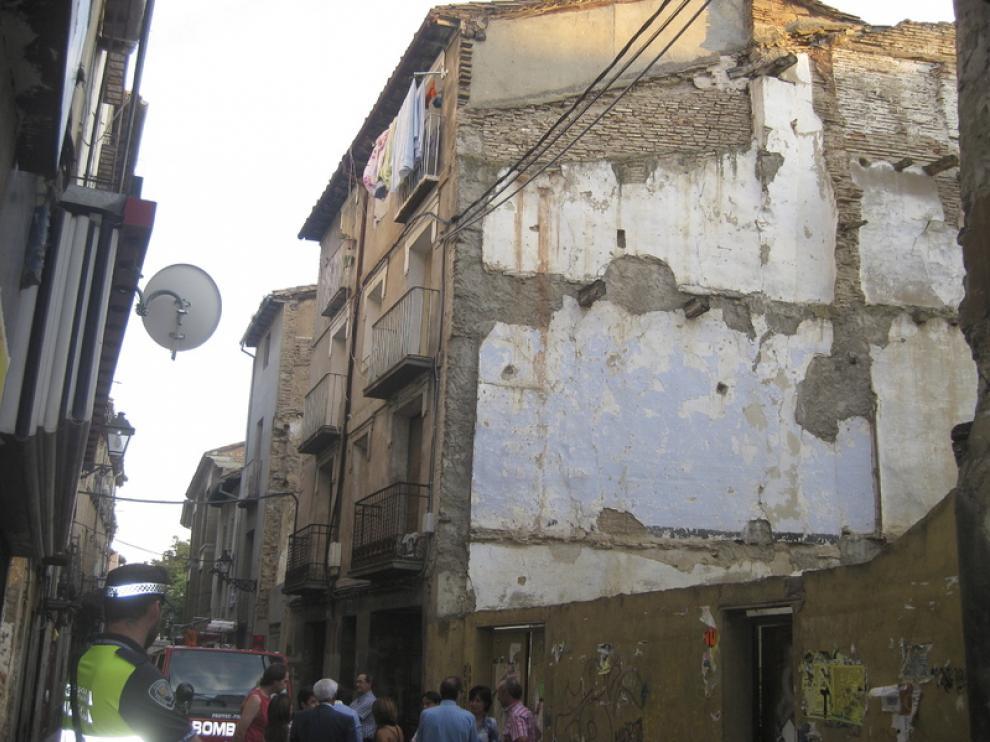 Derrumbe de un edificio en la calle de San Lorenzo, en Huesca