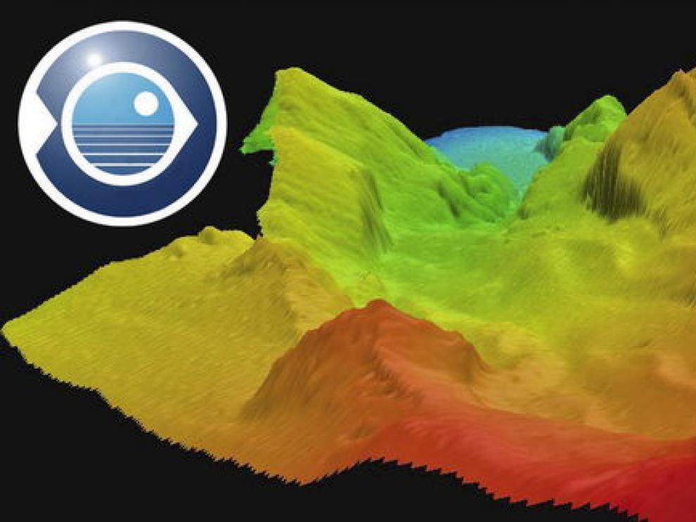 Imagen en 3D generada con los datos que envía la sonda del buque científico que se encuentra en la zona