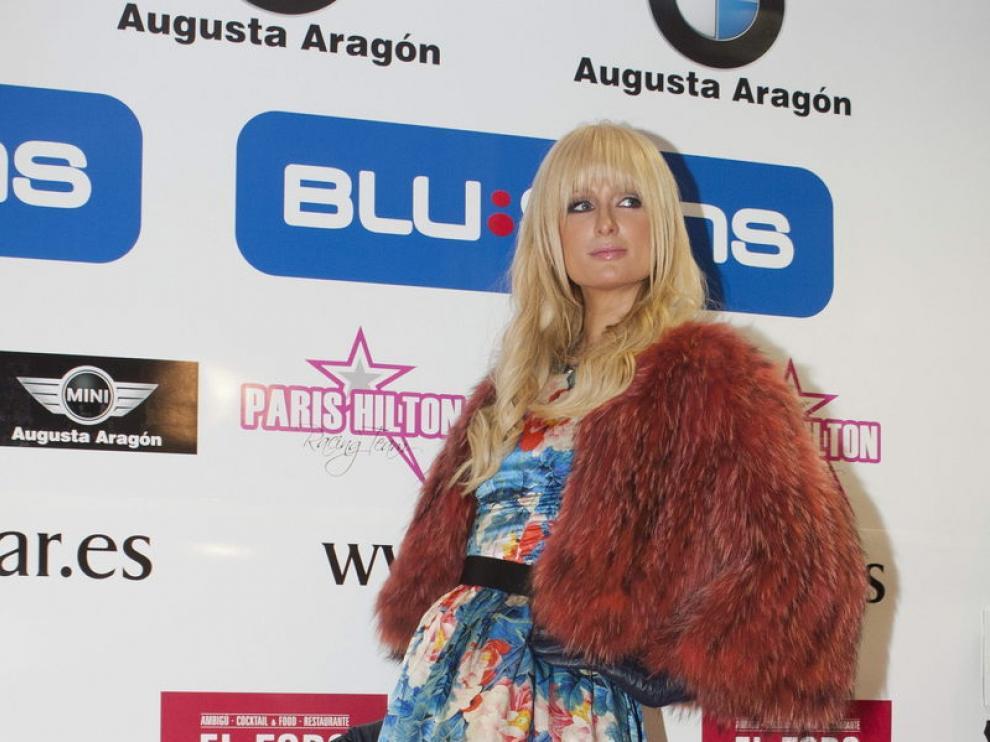Foto de archivo de Paris Hilton en una visita a Zaragoza