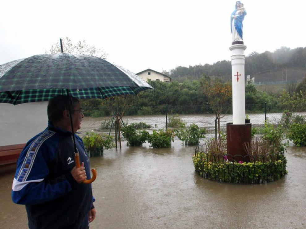 Desbordamiento del río Urumea, en Guipúzcoa