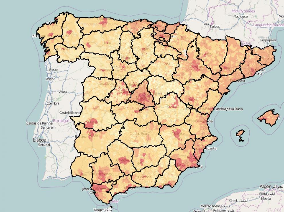 En rojo se muestran las zonas en las que se concentran los 'indignados', aunque falta Canarias