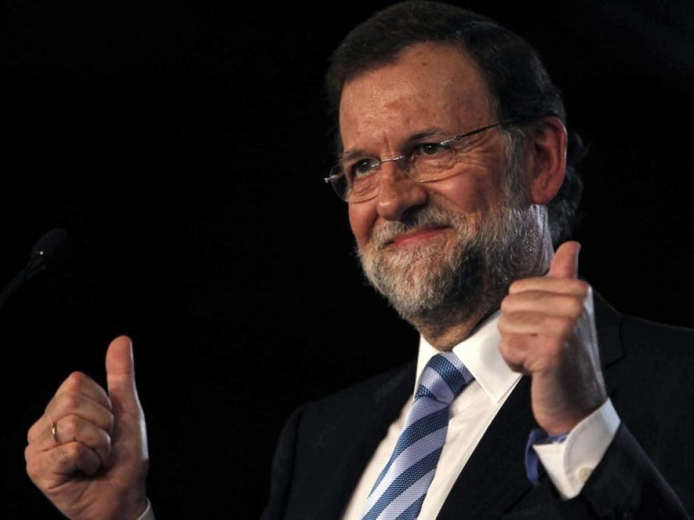 Mariano Rajoy, candidato a la presidencia del Gobierno, durante un mitin en Cataluña.