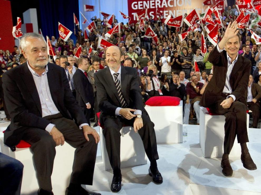Griñán, Rubalcaba y Zapatero en Málaga