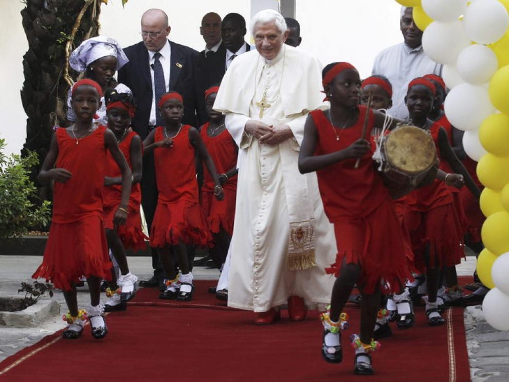 El Papa, durante su visita a Benin