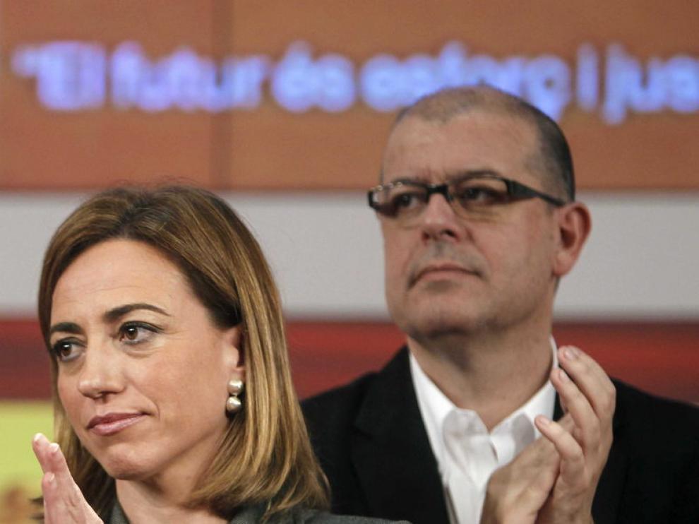 La candidata del PSC, Carmen Chacón, acompañada por José Zaragoza