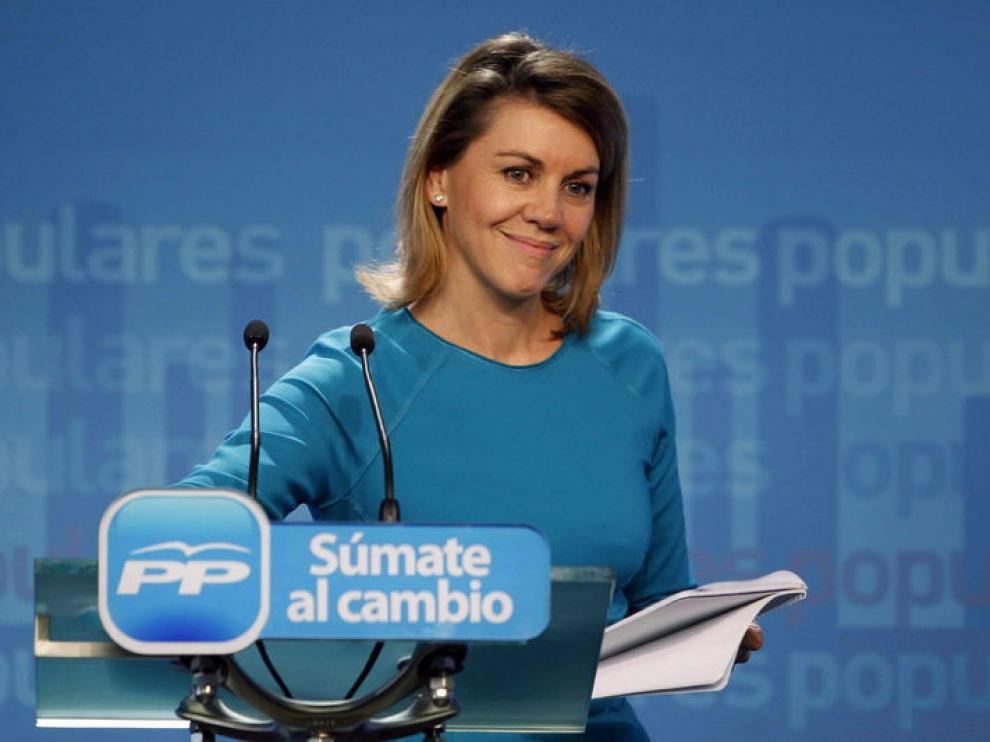 María Dolores de Cospedal, durante su comparecencia para valorar los resultados electorales