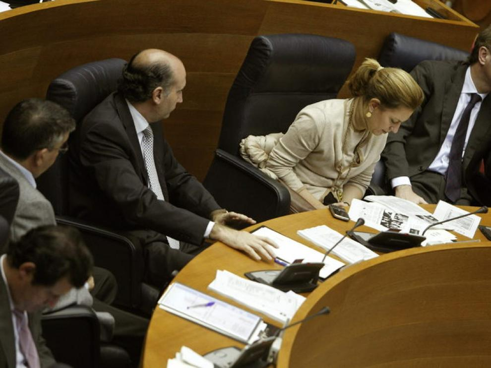 Alberto Cabra (d), durante el pleno de las cortes de Valencia que ha debatido la presentacion de un recurso de inconstitucionalidad contra la retirada del Plan Hidrológico