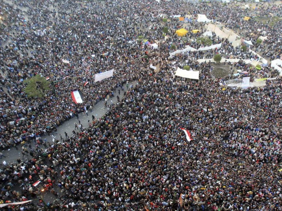 Imágenes de la plaza Tahir en El Cairo este martes