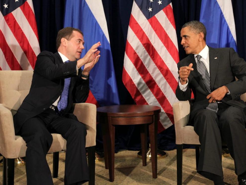 Una imagen de archivo de una reunión entre Barack Obama y el Dmitri Medvédev