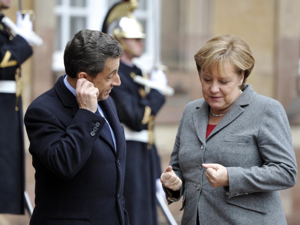 Reunión de Merkel y Sarkozy en Estrasburgo