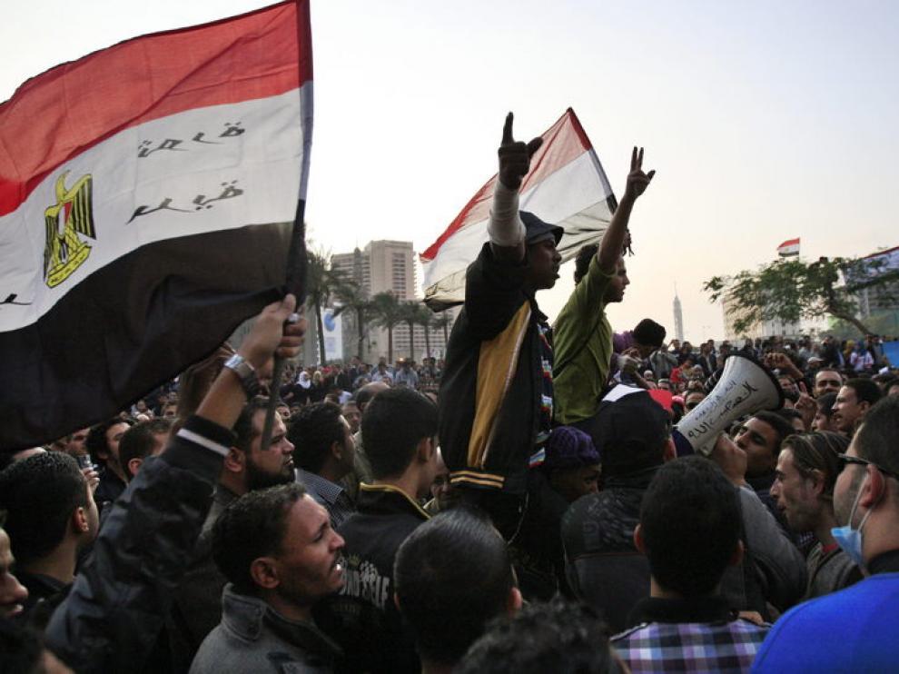 Manifestantes en Tahrir
