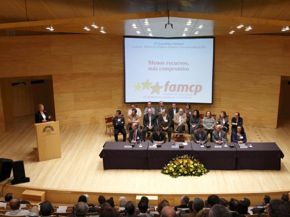 Luisa Fernanda Rudi, durante su intervención en la asamblea de la FAMCP