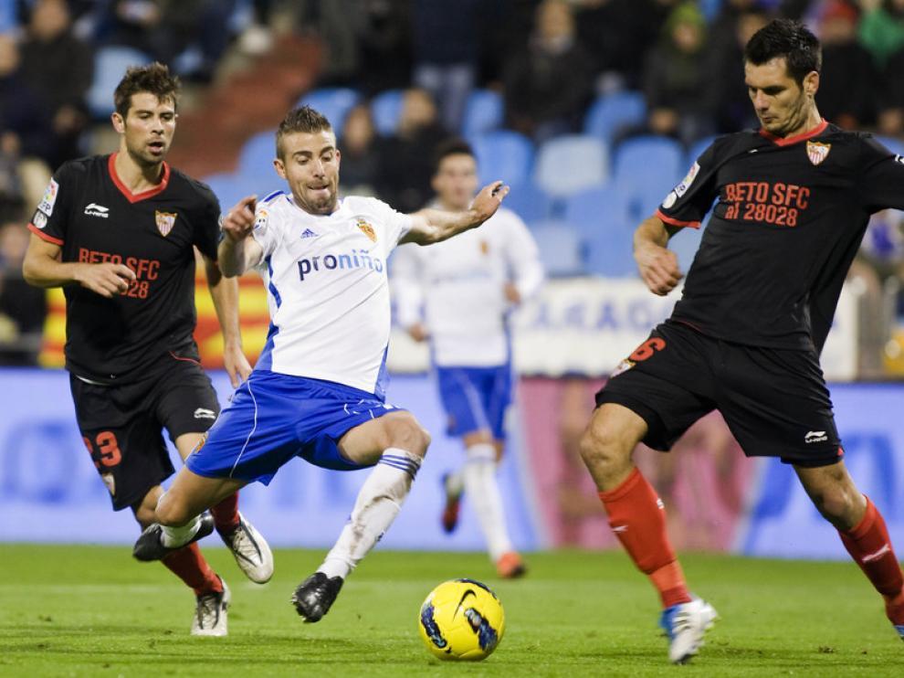 Imagen del partido entre el Real Zaragoza y el Sevilla