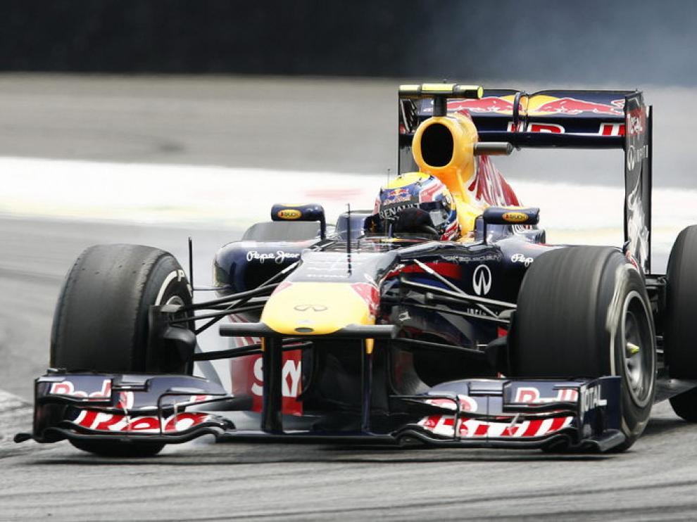 Mark Webber sobre el asfalto de Brasil