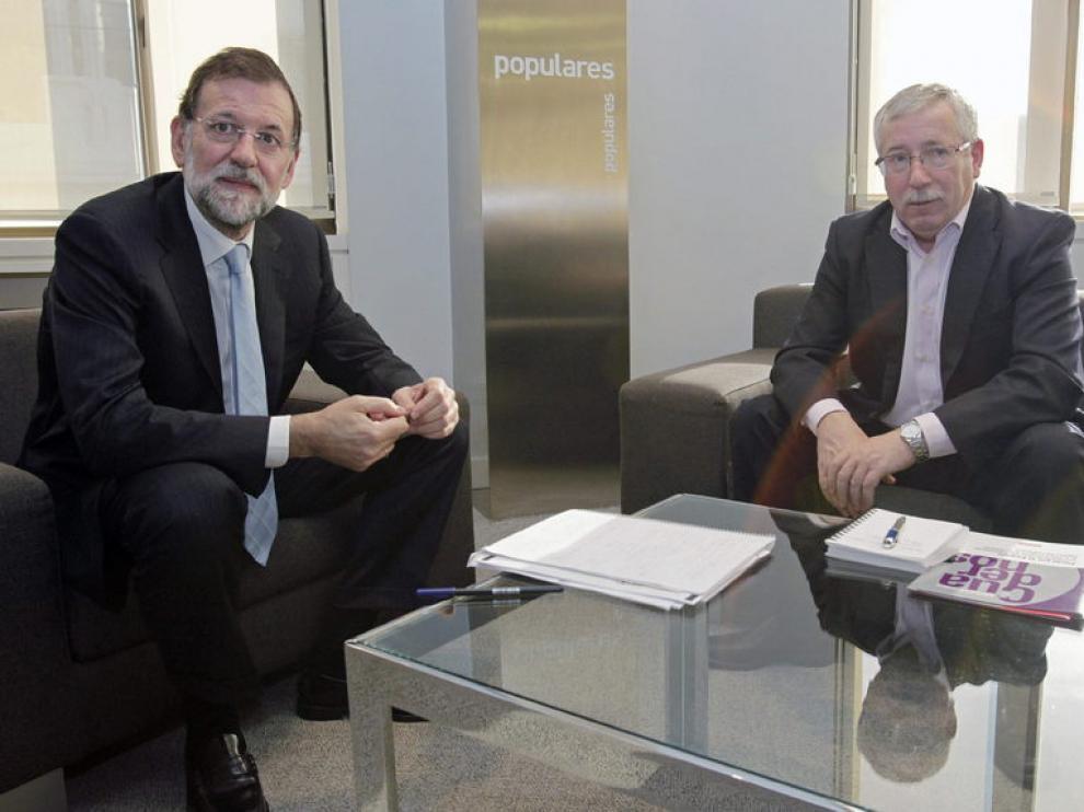 Mariano Rajoy e Ignacio Fernández Toxo, en la reunión