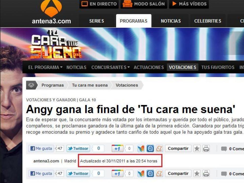 Captura de pantalla que muestra lo publicado por la web de Antena 3