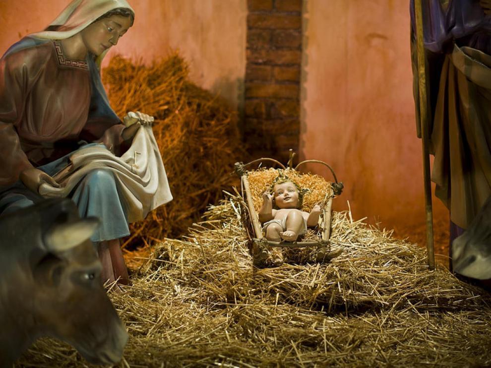 Imagen del Niño Jesús en el Nacimiento de la plaza del Pilar