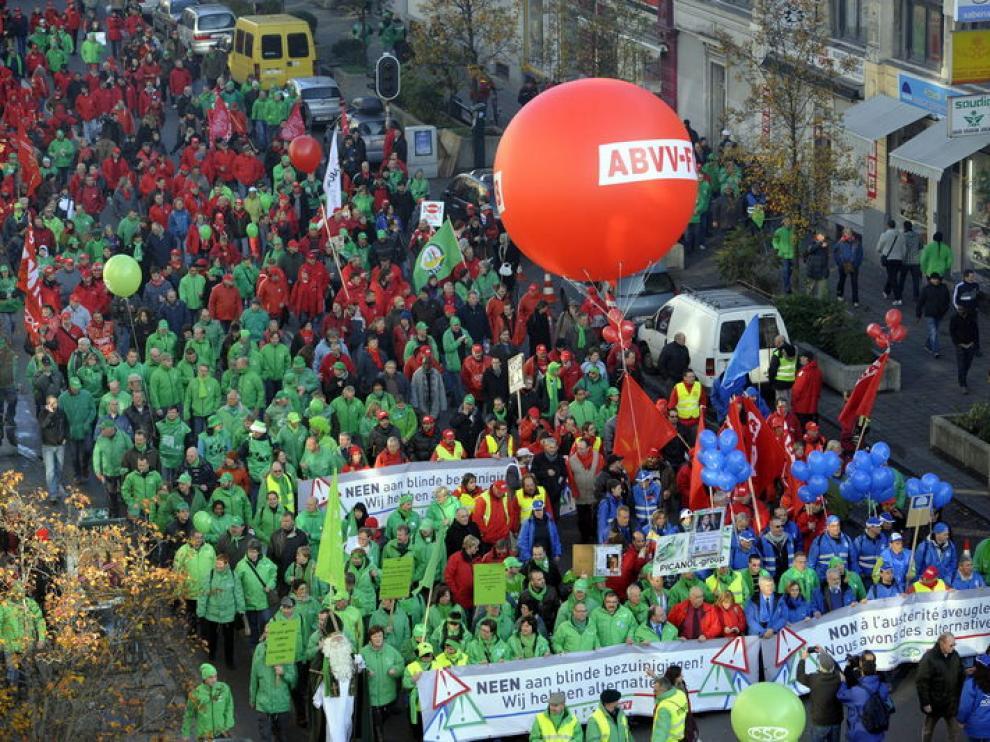 Manifestación por las calles de Bruselas