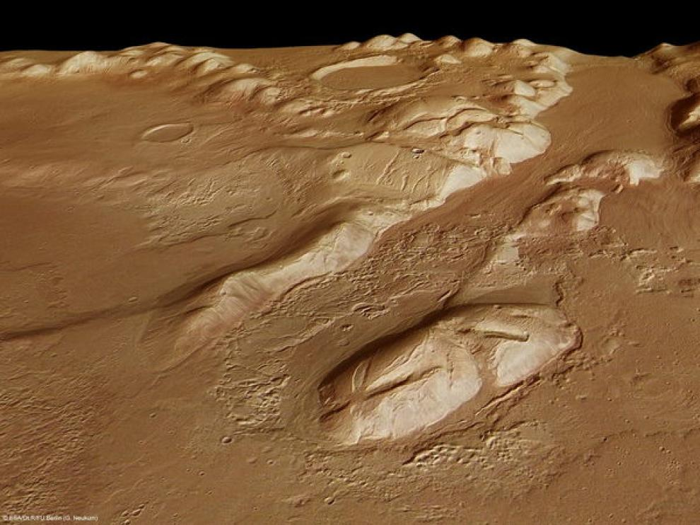 Imagen facilitada por la Agencia Espacial Europea de la Phlegra Montes, en la superficie de Marte