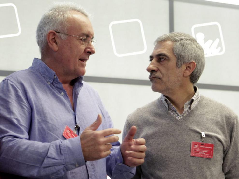 Cayo Lara junto a Gaspar Llamazares en la reunión de IU