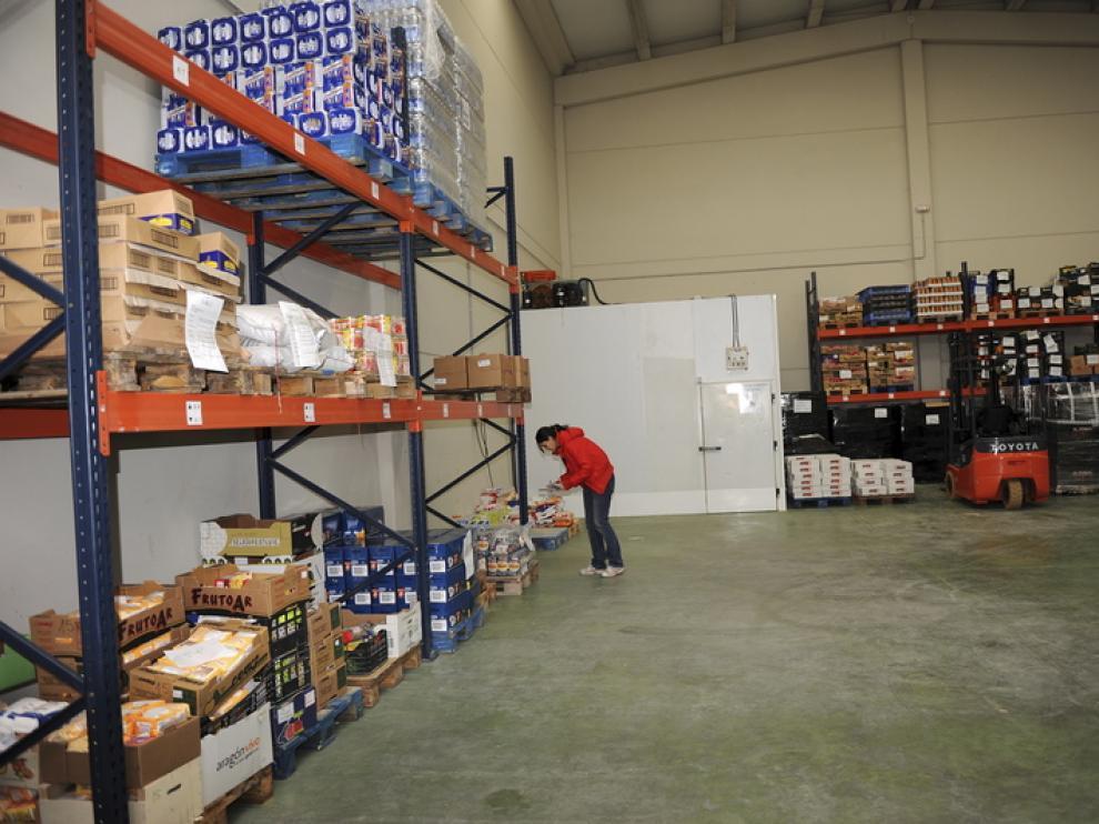 Almacén del Banco de Alimentos de Teruel en Platea.