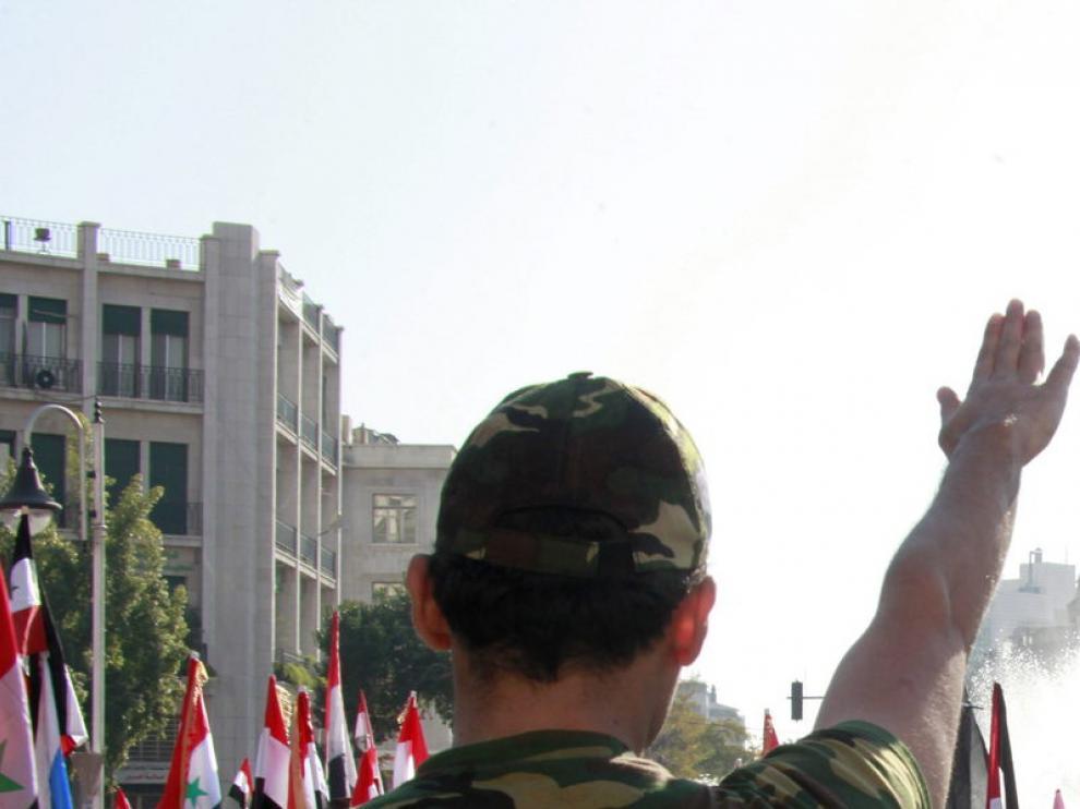 Imagen de archivo de una manifestación contra las sanciones de la Liga Árabe sobre Siria
