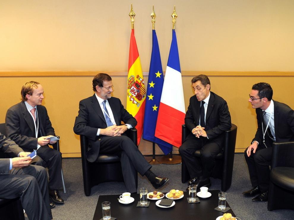 Rajoy, durante el encuentro que ha mantenido con Nicolás Sarkozy