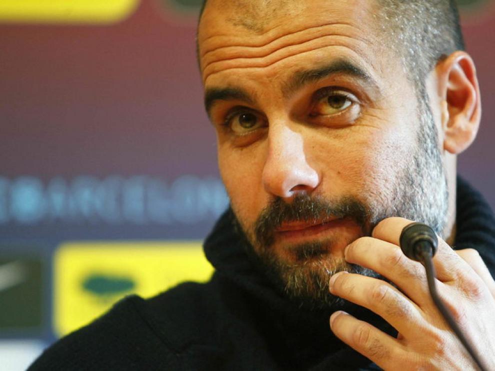 Pep Guardiola, en la rueda de prensa