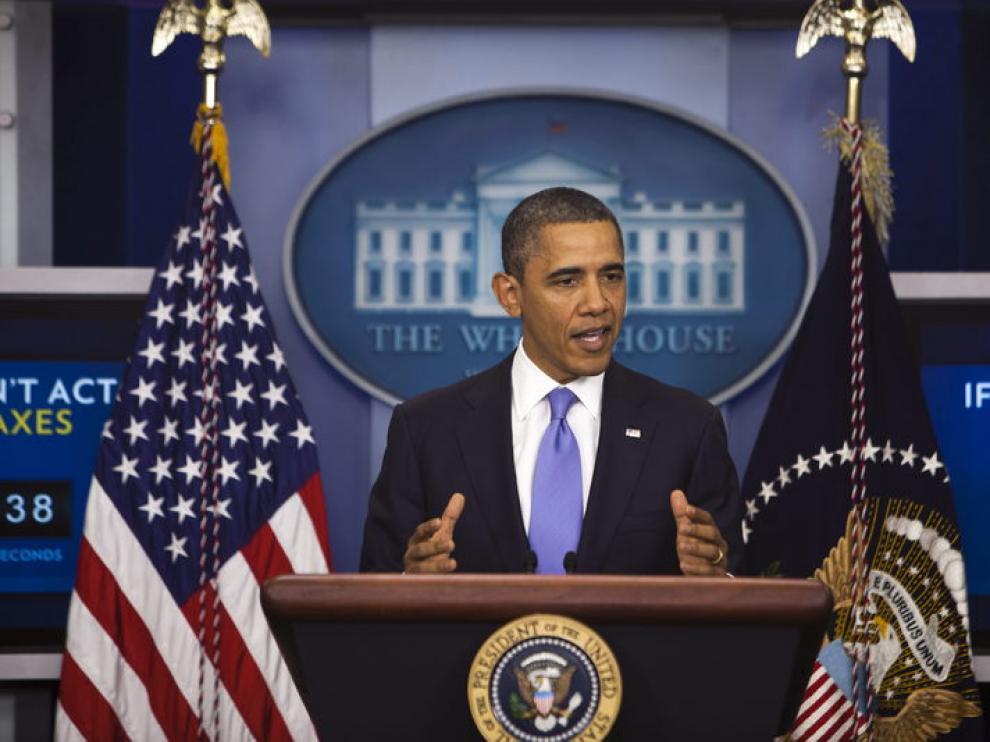 Barack Obama durante una rueda de prensa.