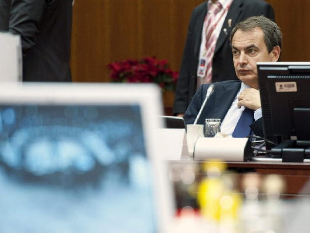 El presidente del Gobierno en funciones, José Luis Rodríguez Zapatero, en Bruselas