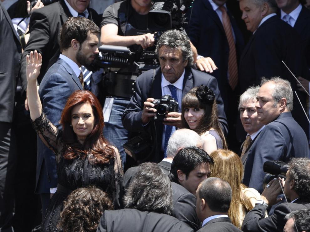 Cristina Fernández, de riguroso luto